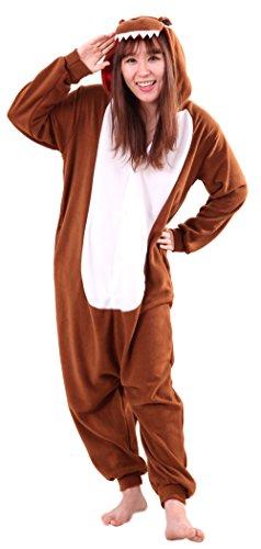 Honeystore Unisex Dinosaur Animal Cosplay Costume One Piece Pajamas Halloween Brown L (Cheap Animal Costumes For Adults)