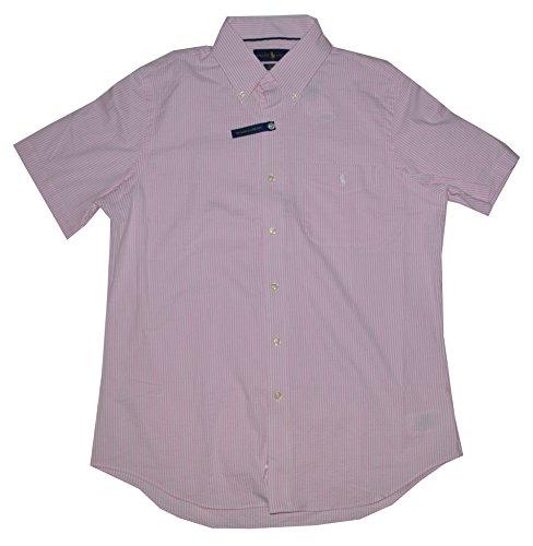 Polo Ralph Lauren Men's Short Sleeve Classic Fit Performance Seersucker Button Front Shirt (Medium, Pink/White)