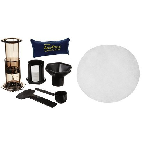 Aerobie AeroPress Coffee Maker with Tote Storage Bag and Filter Papers, Pack of 350