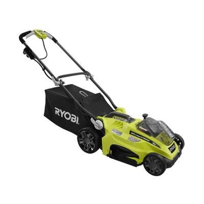 Ryobi 16 in. ONE+ 18-Volt Lithium-Ion Hybrid Cordless or Corded Lawn Mower With 4.0 Ah Lithium+ Battery and Charger Included