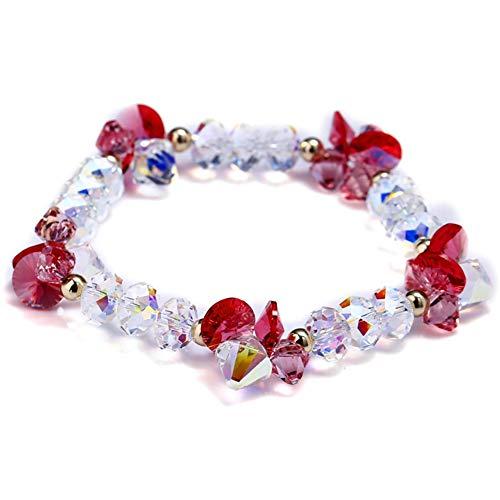 ZSML Birthday Gift Peach Flower Bracelet Austrian Crystal Bangle Bracelets Female Fashion Sweet Jewellery Gifts Austrian Crystal Bangle Cuff Watch