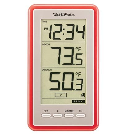 Wind & Weather La Crosse Technology Large-Digit Indoor/Outdoor Color Spot Thermometer and Clock, in Red ID3895-RED