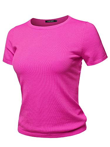 Classic Solid Round Neck Short Sleeve Viscose Knit Sweater Top Hot Pink ()