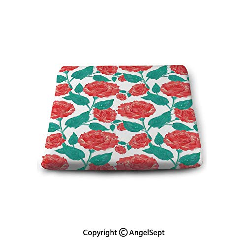 Square Seat Cushion for Bar Stool,Roses Decorations,Vintage Inspired Pastel Colored Painting of Roses Fascination Retro Love Story,Red White Green,Chair Pad Premium Comfort,Waterproof