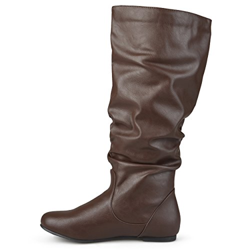 Journee Collection Womens Regular Sized and Wide-Calf Mid-Calf Slouch Riding Boots Brown jIEFy
