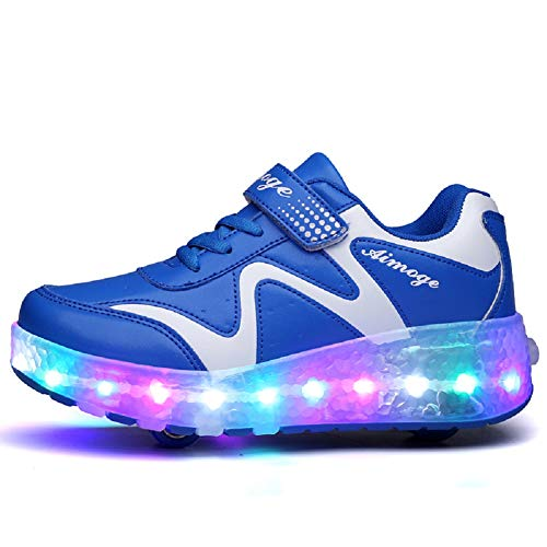 Ehauuo Girls Roller Shoes Kids Sparkling Wheels Shoes Boys Light up Roller Skates Sneakers Rechargeable Flashing Sneakers for Gift (3.5 M US Big Kid, F-Blue)
