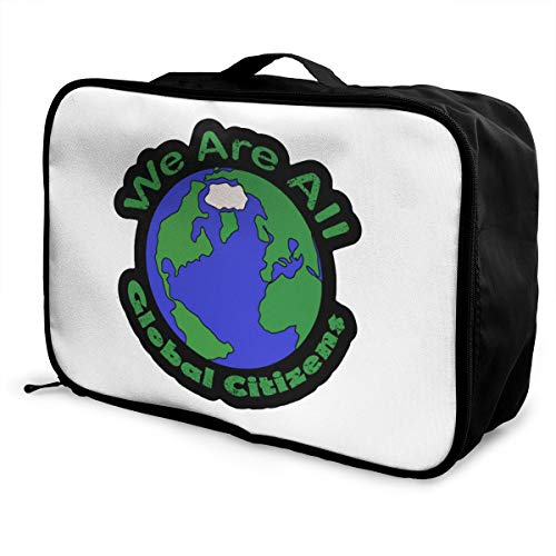 We Are All Global Citizen Lightweight Large Capacity Portable Luggage Bag Fashion Travel Duffel Bag