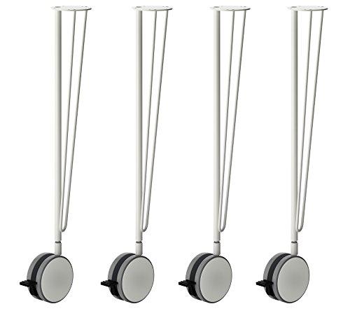 IKEA Krille Steel Table Legs With Lockable Caster Wheels - 27.5