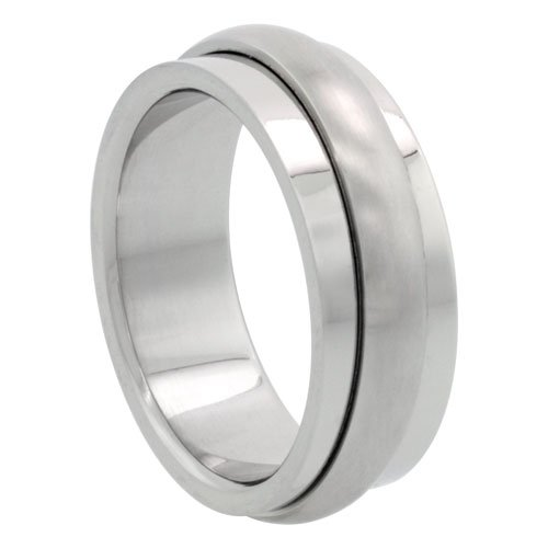 Surgical Steel 8mm Spinner Wedding Band Ring Domed Matte Center, size 7