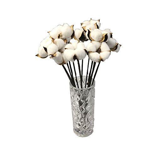 LEAFBABY 12 PCS Artificial Cotton Boll Wire Iron Stem DIY Flower For Arrangement Photo Props Home Wedding Hotel Party Decor Approx 13 Inch
