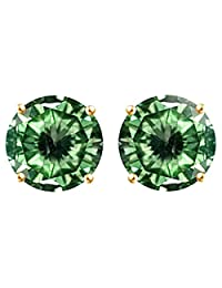 Round Cut Greenish Moissanite Stud Earring in 14k Gold Over Sterling Silver (0.75 ct)