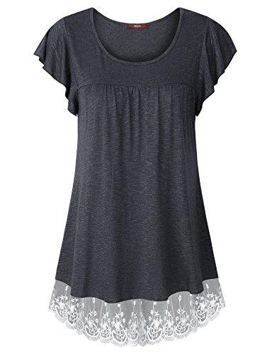 Gaharu Women's Ruffle Short Sleeve Tunics Pleated Casaul Blouse Shirt Top (Large, Carbon Black)