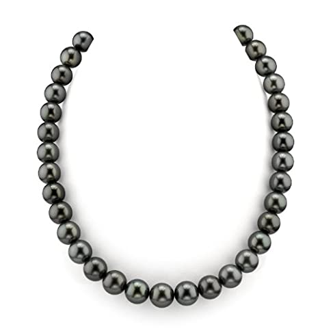 - 41hUxPYQGsL - THE PEARL SOURCE 14K Gold AAAA Quality GLA Certified Round Genuine Black Tahitian South Sea Cultured Pearl Necklace in 18″ Princess Length for Women