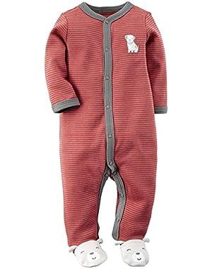 Carter's Red/Gray Stripe Doggie Sleeper - (Size - Newborn)!
