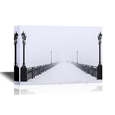 Stunning Visual, Made With Top Quality, Watercolor Style Bridge City Landscape in Foggy Snowy Winter Day Ukraine Donetsk