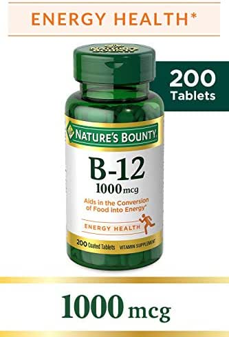 Nature's Bounty Vitamin B-12 1000 Mcg, Supports Energy Metabolism 200 Coated Tablets