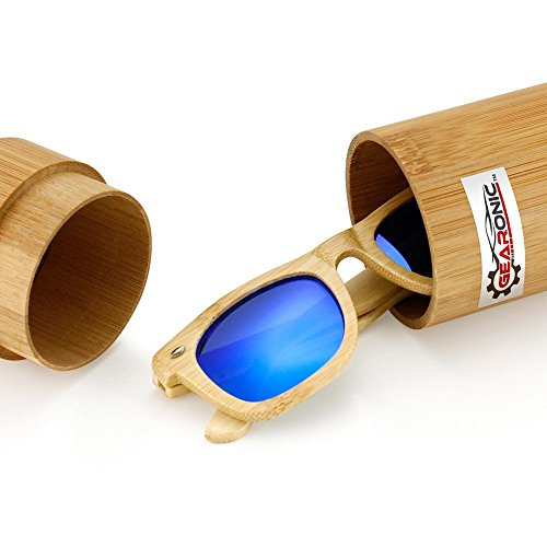 Polarized Genuine Bamboo lightweight Wood Entire Frame Vintage Handcraft Sunglasses Mens Womens Eyewear with Wooden Bamboo box - Blue