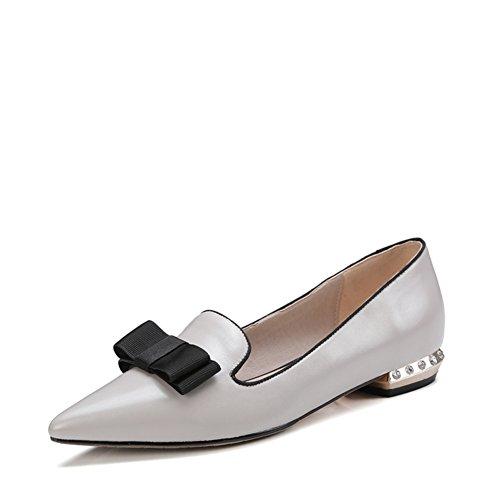 Primavera/verano moda dama Strass plano puntiagudos zapatos/Joker arco simple B