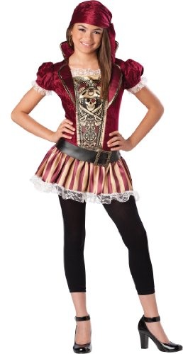InCharacter Costumes Tween Swashbuckling' Sass Pirate Costume,  Gold/Burgundy, -
