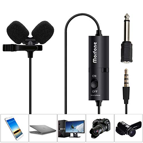 (Dual Track Lavalier Microphone, Morfone Lapel Microphone Clip on Mic with Omnidirectional Condenser for iPhone,Samsung,Android,Podcast,Recording,Camera,PC,DSLR,Laptop (236inch Extension)