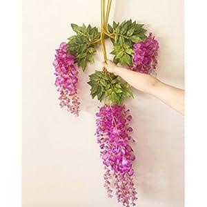 12pcs Wisteria Vine 105cm Artificial Wisteria Flower Vines for Wedding Party Decorative Flower Rattans 9