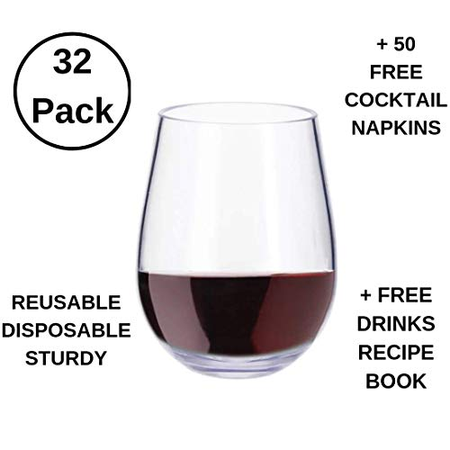 32 Pack Stemless 12oz Premium Plastic Modern Wine Glass Disposable/Reusable/Unbreakable Plus:50 White Napkins & Cocktail Recipes eBook! For: Party Celebration, Wedding, Baby Shower, Catering or Event!