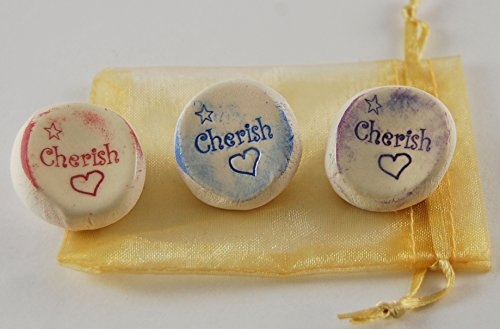 Cherish Ceramic Word Stone - Set of 3 with Organza ()