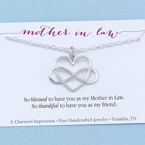 Mother In Law Gift • Infinity Heart Necklace • Sterling Silver • Blessed & thankful to have you as my friend ()