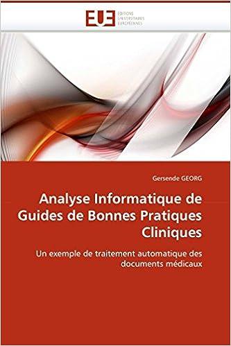 Descargar EPUB Gratis Analyse Informatique De Guides De Bonnes Pratiques Cliniques