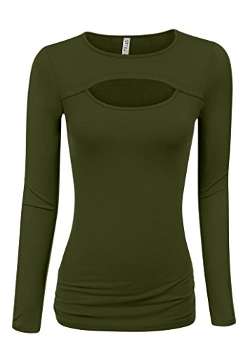 Olive Long Sleeve Tops Women Olive Sexy Top Olive Green Shirt Plus Size and Reg (Size XXX-Large, Olive Long ()