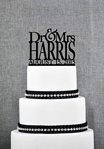 Dr and Mrs Last Name Wedding Cake Topper with Date Unique Personalized Wedding Cake Topper Modern Dr and Mrs Cake - Mrs And Toppers Cake Dr