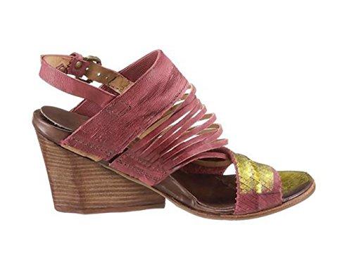 A.S.98 Sandalias para mujer abierto sandaletten cuña color rojo burdeos
