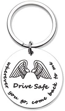 Couple Keychains for Men Drive Safe Key Chain Gifts Dog Tag Inspirational Best Birthday Gifts for Boyfriend Truckers Husband Dad New Driver Couple Gifts Stocking Stuffer New Car Gift for Him
