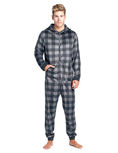 Ashford & Brooks Men's Adult Mink Fleece Hooded One-Piece Union Suit Pajamas - Charcoal Buffalo Check - -