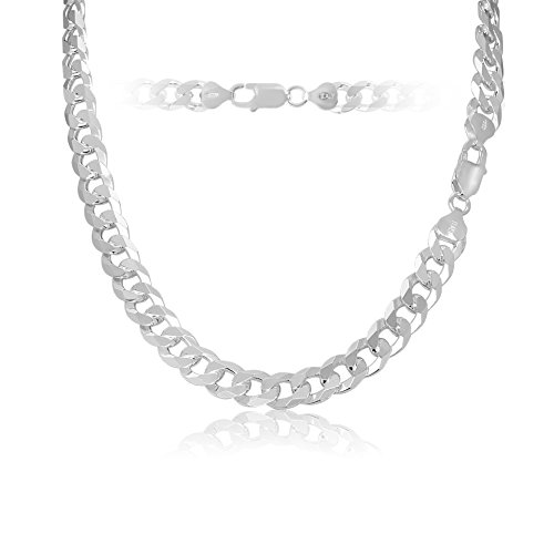 KEZEF Creations 9mm 925 Sterling Silver Cuban Curb Link Chain Necklace 28 inch