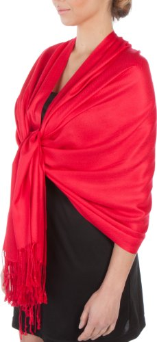 Sakkas Large Soft Silky Pashmina Shawl Wrap Scarf Stole in Solid Colors - Red