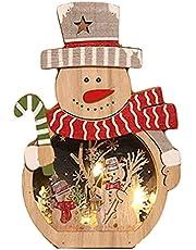 Kerst Verlichting Decoratie, LED Kerst Verlichting Decoratie Houten Kerst Kleurrijke Ornament Lichtgevende Kerst Fairy Licht fit voor Kerstmis Slaapkamer Party