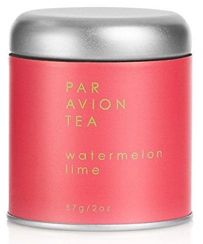 Par Avion Tea Watermelon Lime - Organic Green Tea Blended With Sweet Watermelon and Peppery Basil - Small Batch Loose Leaf Tea in Artisan Tin - 2 oz -