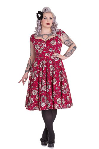 Hell-Bunny-Plus-Calavera-Day-of-the-Dead-Flower-Sugar-Skull-Red-Party-Dress