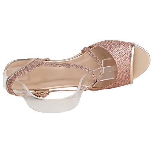Stiefelparadies Damen Riemchensandaletten Lack Sandaletten Glitzer Party Schuhe Stiletto Mid Heels Elegante Abendschuhe Abiball Flandell Rose Gold Glitzer
