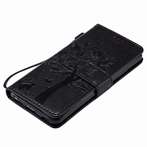 Yiizy Huawei P10 Custodia Cover, Alberi Disegno Design Sottile Flip Portafoglio PU Pelle Cuoio Copertura Shell Case Slot Schede Cavalletto Stile Libro Bumper Protettivo Borsa (Nero)