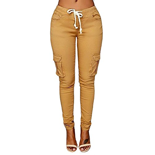 Women's Solid Color Stretch Cargo Joggers Casual Pockets Drawstring Skinny Pants Khaki