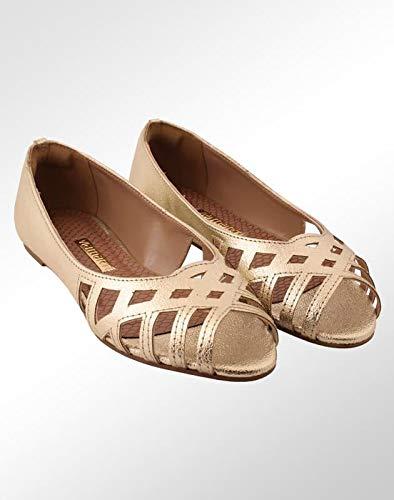 707f6a971d Sapatilha Via Marte Peep Toe Dourada Feminina  Amazon.com.br  Amazon ...