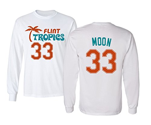 KINGS SPORTS Flint Tropics Jackie Moon 33 Semi Pro Basketball Men's Long Sleeve T Shirt (White,XL)]()