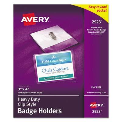 Avery Photo Id Badge - Avery Photo ID Badge Holder - Horizontal - 100 / Box - Clear
