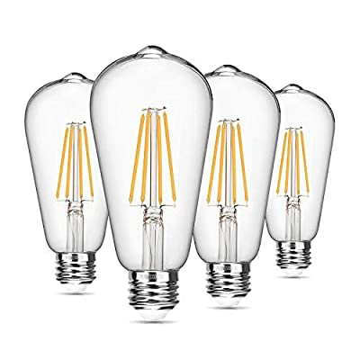 Vintage LED Edison Bulb Dimmable 8W ST64 Led Filament Light Bulb 2700K Soft White 820 Lumen 75-100W Incandescent Equivalent E26 Medium Base Decorative Antique Bright Bulbs for Bathroom Kitchen, 4 Pack
