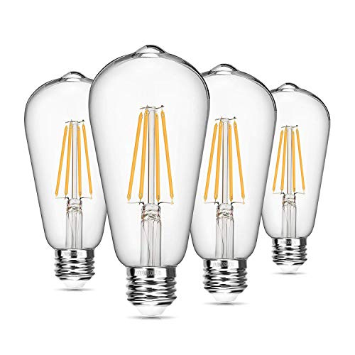 (Vintage LED Edison Bulb Dimmable 8W ST64 Led Filament Light Bulb 2700K Soft White 820 Lumen 75-100W Incandescent Equivalent E26 Medium Base Decorative Antique Bright Bulbs for Bathroom Kitchen, 4 Pack)