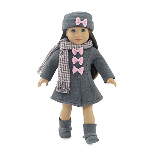 18 Inch Doll Clothes | Lovely Grey and Pink Coat Outfit, Includes Incredible Matching Hat and Boots and Perfect Hounds Tooth Scarf | Fits American Girl - 18 Doll Coat Set Inch