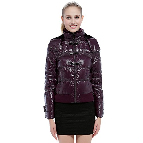 Respeedime Genuine Lady Autumn and Winter Down Coat Short Glossy Surface Down Jacket