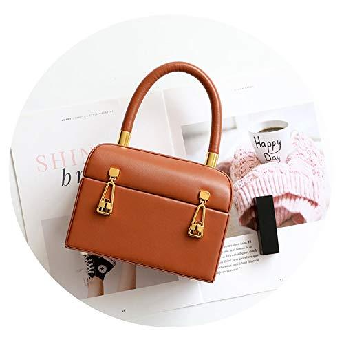 (Mini Box Cow Genuine Leather Bags Handbags Tote Bags Luxury Lock Purse,Caramel)